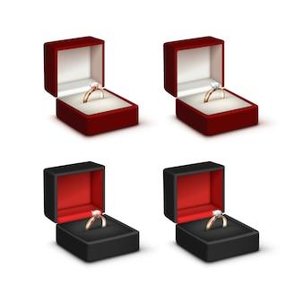 ピンクと白の光沢のあるダイヤモンドと金の婚約指輪のセット