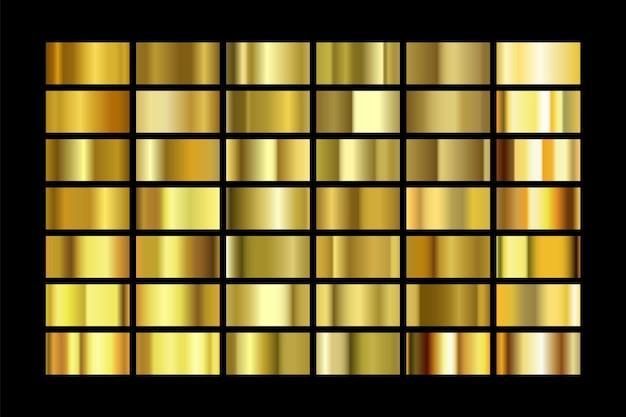 Набор текстуры золотой фольги, изолированные на черном