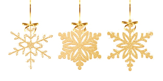 Набор снежинки текстуры золотой блеск, изолированные на белом фоне. иллюстрация