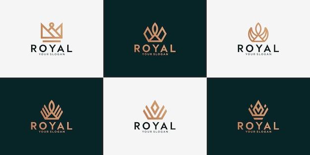 골드 라인 스타일 왕관 아이콘의 집합입니다. 퀸 킹스 로얄 럭셔리 크라운