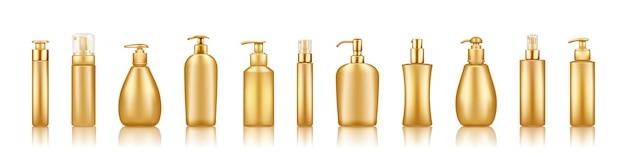 Набор мокапов роскошных золотых бутылочек с помпой: сыворотка, увлажняющий крем, лосьон, крем, дезинфицирующее средство