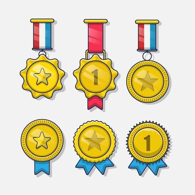金メダルのセット。孤立した漫画イラストアイコン