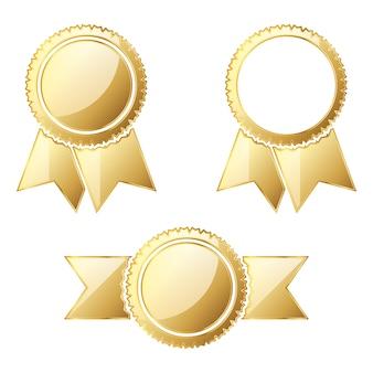 白で隔離の金メダルのセット