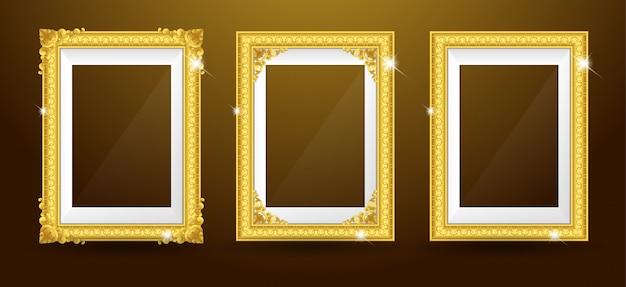 Набор золотой фоторамки Premium векторы