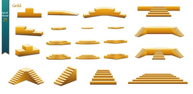 白で隔離の金の表彰台のセット