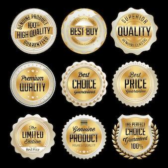 Набор золотых розничных значков, изолированных на черном Premium векторы