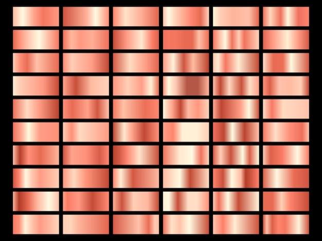 ゴールドローズホイルの質感のセットです。黒の背景に分離されたピンクのメタリックテクスチャのコレクション。図。