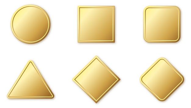 金の形のバッジのセット。光沢のあるフレームまたは影付きのバッジ。