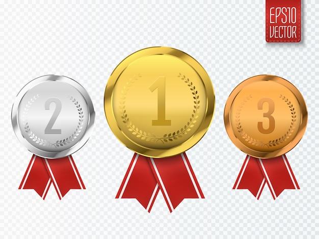 투명에 고립 된 금은 및 동메달 수상 메달 세트