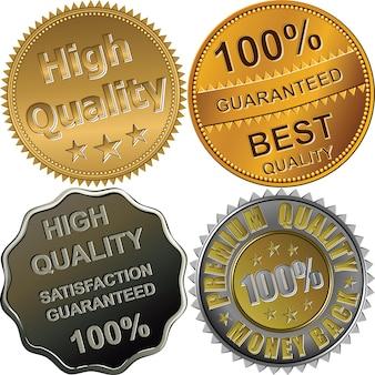 최고, 프리미엄, 고품질, 보장, 흰색 배경에 고립 된 골드, 실버 및 브론즈 메달 세트