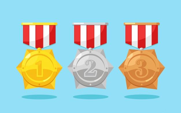 ゴールド、シルバー、ブロンズメダルとスターのセット。トロフィー、背景に分離された勝者のための賞。リボン付きゴールデンバッジ。達成、勝利のコンセプトです。漫画フラットデザイン