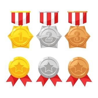 1 위를위한 스타와 함께 금,은, 동메달 세트. 트로피, 배경에 우승자 상. 리본으로 황금 배지입니다. 업적, 승리.