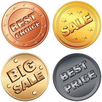 ゴールド、シルバー、ブロンズマネーコイン、価格、セールバッジのセット。