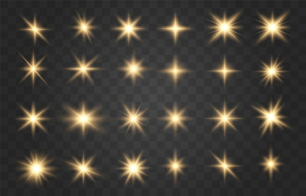 Набор золотых искр изолированы. яркие золотые вспышки и блики.