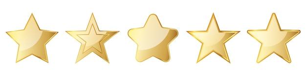 金の星のセットです。光沢のある星が分離されました。図。星の金のシンボル