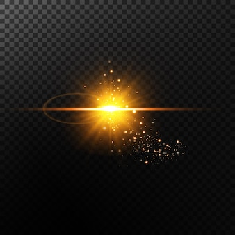 金の星のセット。光の効果。明るい粒子のセット