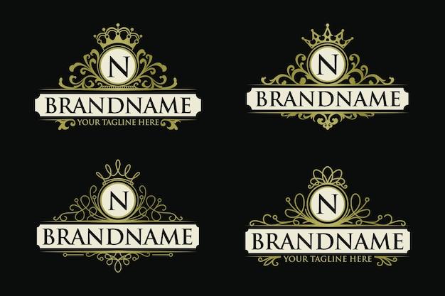 Набор золотых старинных логотипов