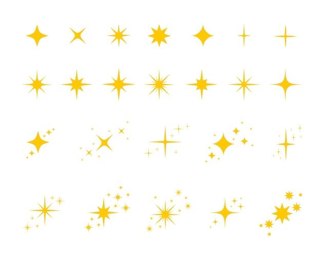 금색 노란색 별 세트 반짝임 및 반짝임 기호