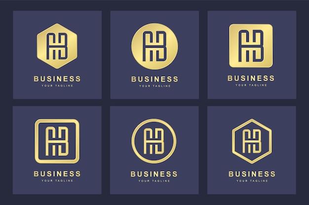 いくつかのバージョンとゴールデンab文字ロゴのセット