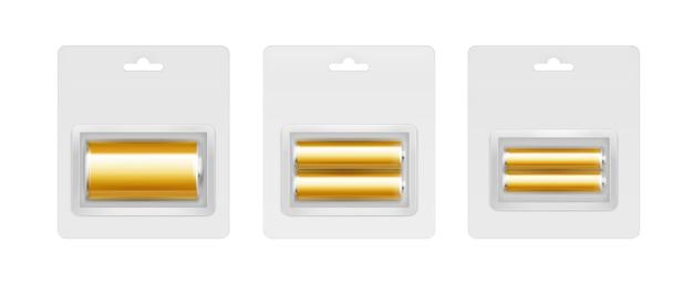 灰色のブリスターにある黄金のアルカリ電池のセット
