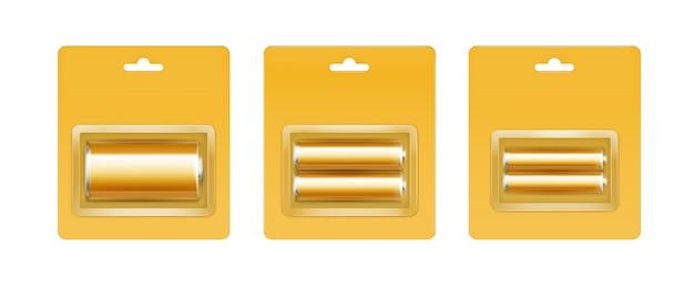 黄色のブリスターに黄金のアルカリ電池のセット