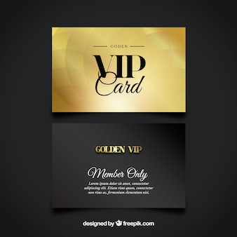 Set of golden and black vip cards