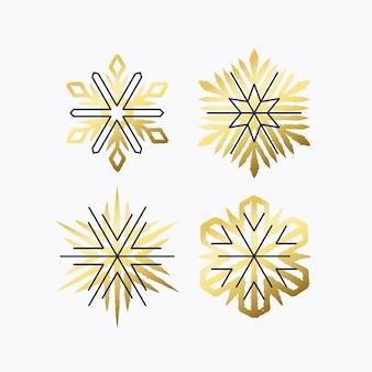 金色と線の様式化された雪片、クリスマスと新年のデザイン要素、装飾のセット。