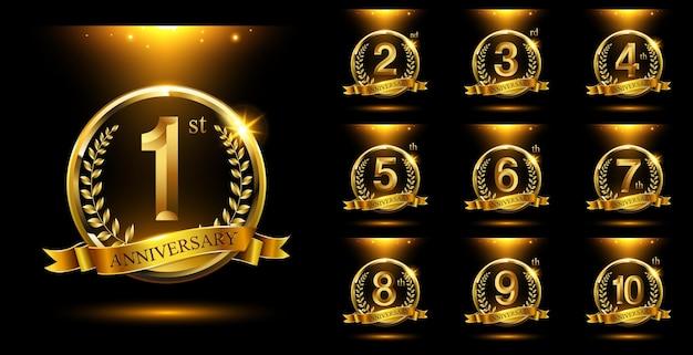 황금 기념일 로고 축하 세트