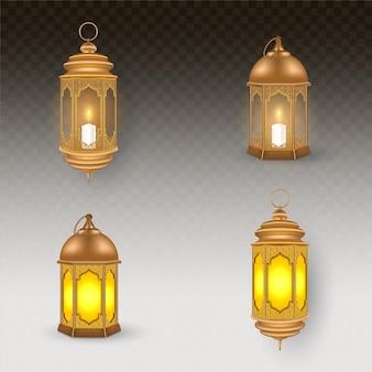 황금 갈색 등불 세트