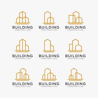 Набор дизайнов логотипа золотого здания. строительство логотипа в стиле арт-линии.