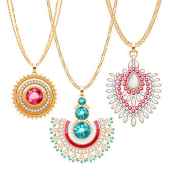 Набор золотых цепочек с разными подвесками. драгоценные ожерелья. броши-подвески в этническом индийском стиле с драгоценными камнями и жемчугом. включите щетки для цепей.