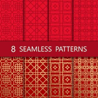 黄金の中国のシームレスパターンのセット