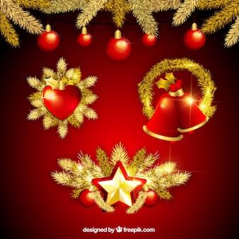 黄金のクリスマスの要素のセット