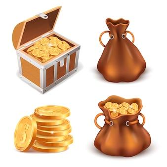 黄金のコインの宝物のセット