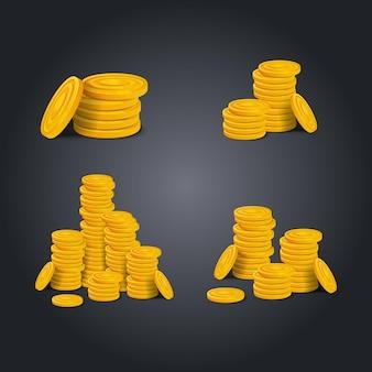 Набор стеки золотых монет на черном фоне. красочные глянцевые груды денег деньги реалистичные игровые активы. векторная иллюстрация штока