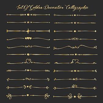 Set Of Golden Decorative Calligraphic Elements For Decoration.