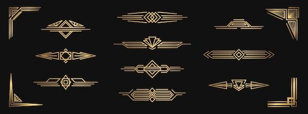 金色の装飾的な要素のセットです。デザインのための孤立したアールデコフレームとボーダー