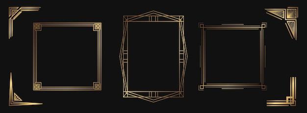 Набор золотых декоративных элементов. изолированные рамки арт-деко и границы для дизайна