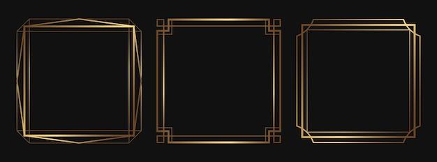빈 공간이 있는 황금 장식 프레임 격리된 아트 데코 라인 아트 테두리 세트