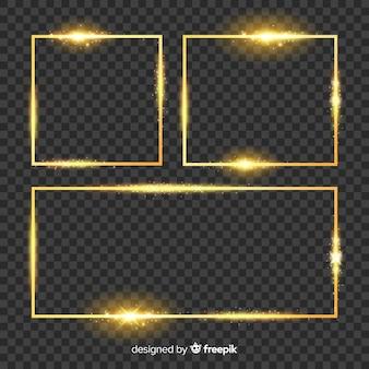 透明な背景にゴールデンフレームのセット