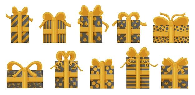 Набор золотых подарочных коробок, изолированные на белом фоне. Premium векторы
