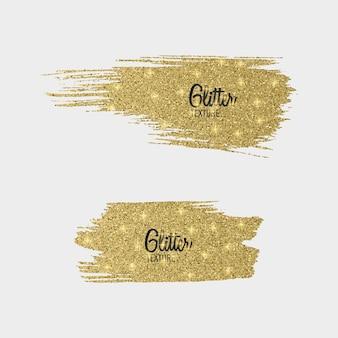 황금 반짝이 브러시 획 세트