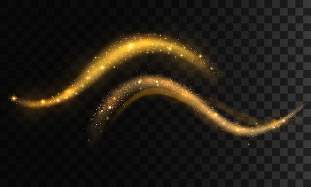 金色のきらびやかな波のセット。きらめく光の道。輝く光沢のあるスパイラルライン効果。