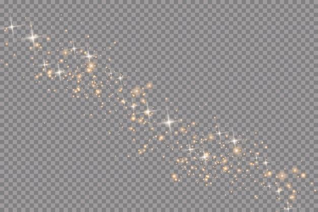 Набор золотых светящихся световых эффектов на прозрачном фоне. солнечная вспышка с лучами и прожектором. эффект свечения. звезда вспыхнула блестками.