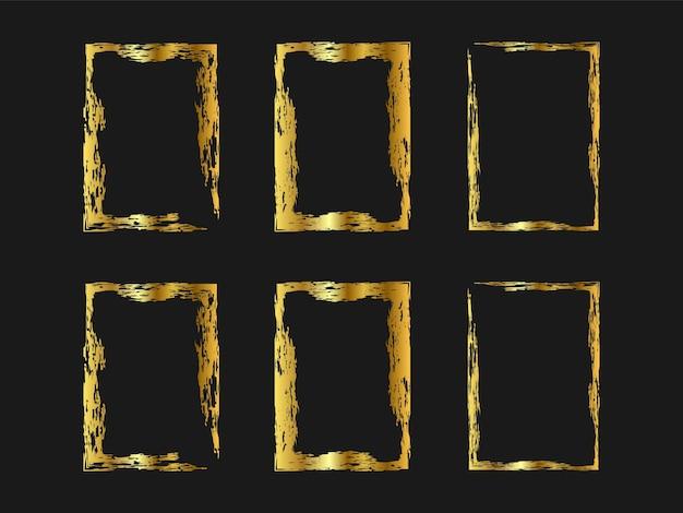 ゴールデン手描きブラシスタイルのセットです。水彩フレーム