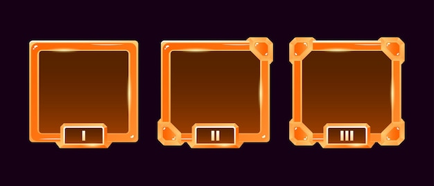 Набор рамок аватара границы пользовательского интерфейса игры с золотым желе с оценкой для элементов графического интерфейса