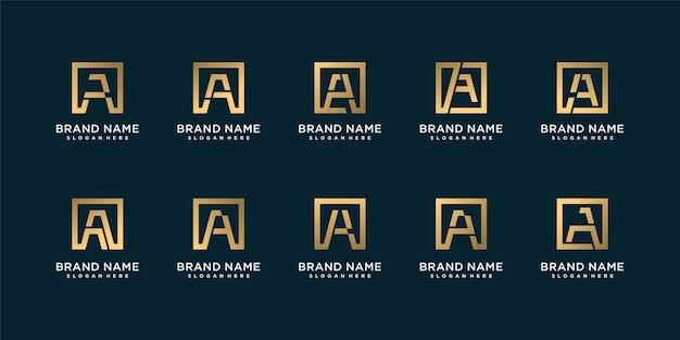 イニシャルa、金色の金色の文字のロゴコレクションのセット