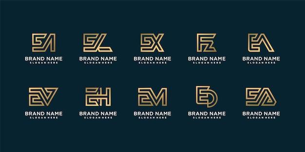 초기 e 황금 회사 프리미엄 벡터와 황금 편지 로고 컬렉션의 집합