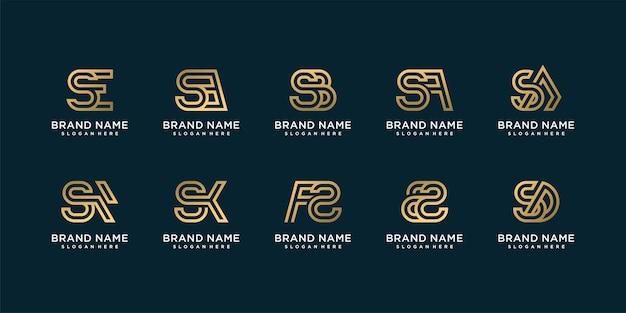 초기 s 황금 회사 프리미엄 벡터와 황금 편지 로고 컬렉션의 집합