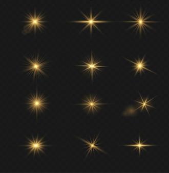 金色の光の効果、日光の特別なレンズのセット。明るいゴールドのフラッシュとグレア